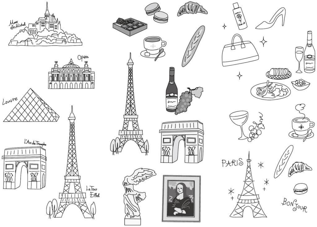 パリ,イラスト,エッフェル塔,ルーブル,ワイン,モンサンミッシェル,カフェ