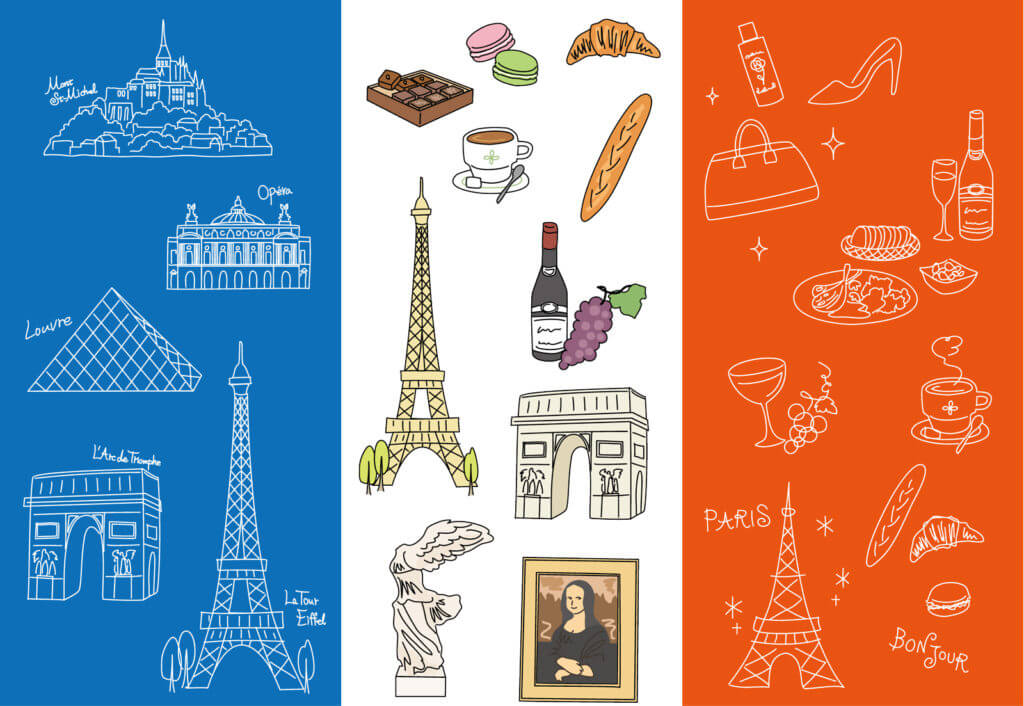 フランス国旗とフランスを象徴する物や建物のイメージ