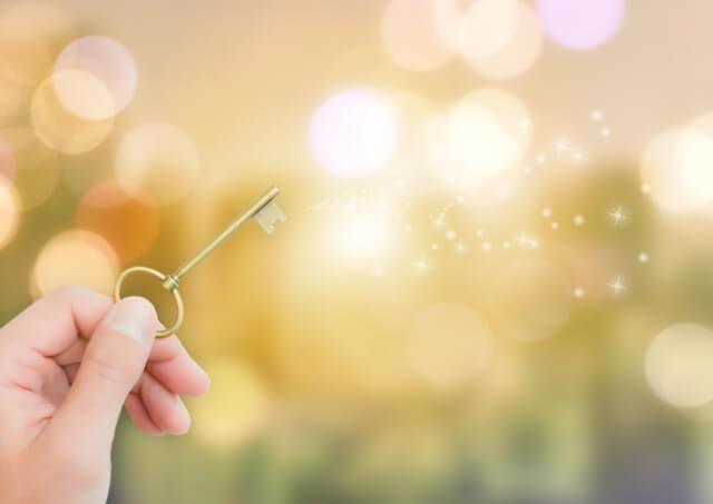 一つの大切なものである人生のイメージの鍵と光