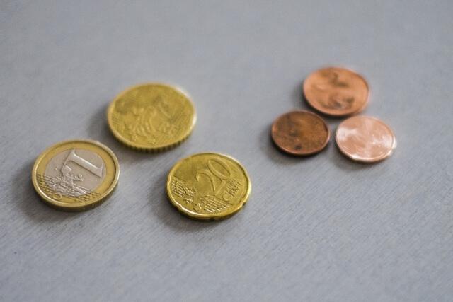ユーロコインが置いてある様子