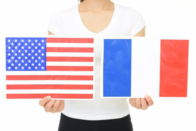 アメリカ国旗、フランス国旗