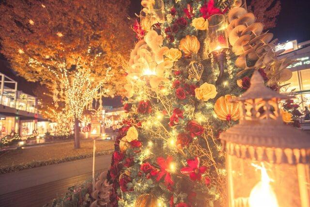 電飾に彩られたクリスマスツリー